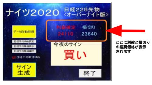 ナイツ2020のサイン画面